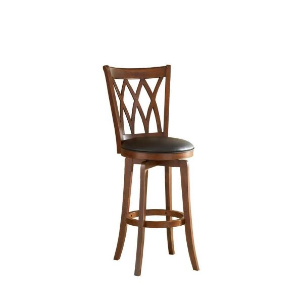Swell Mansfield 24 In Brown Cherry Swivel Cushioned Bar Stool Lamtechconsult Wood Chair Design Ideas Lamtechconsultcom