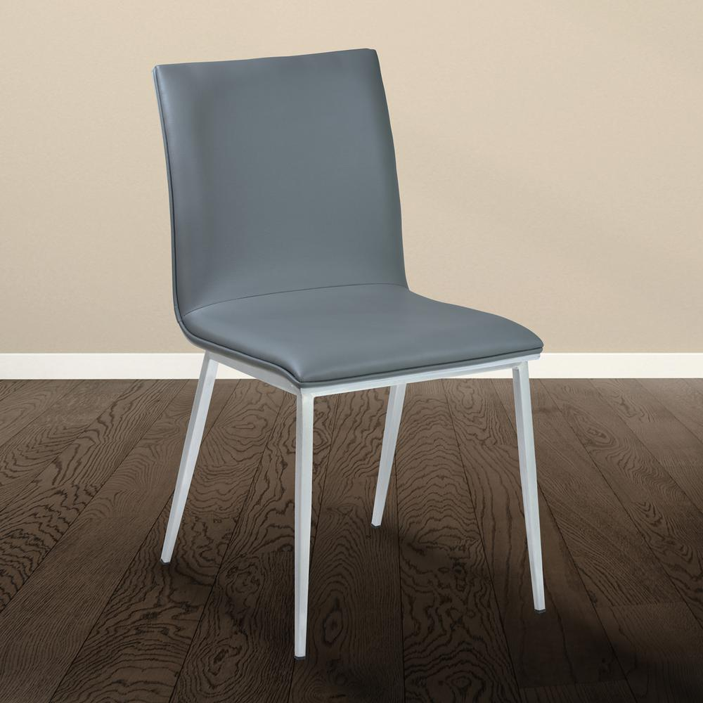Armen Living Crystal 33 In Gray Faux Leather And Brushed
