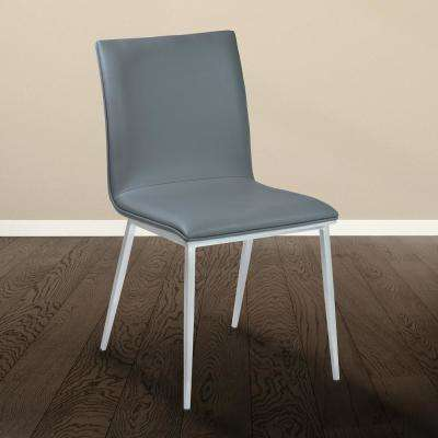 Crystal 33 in. Gray Faux Leather and Brushed Stainless Steel Finish Dining Chair (Set of 2)