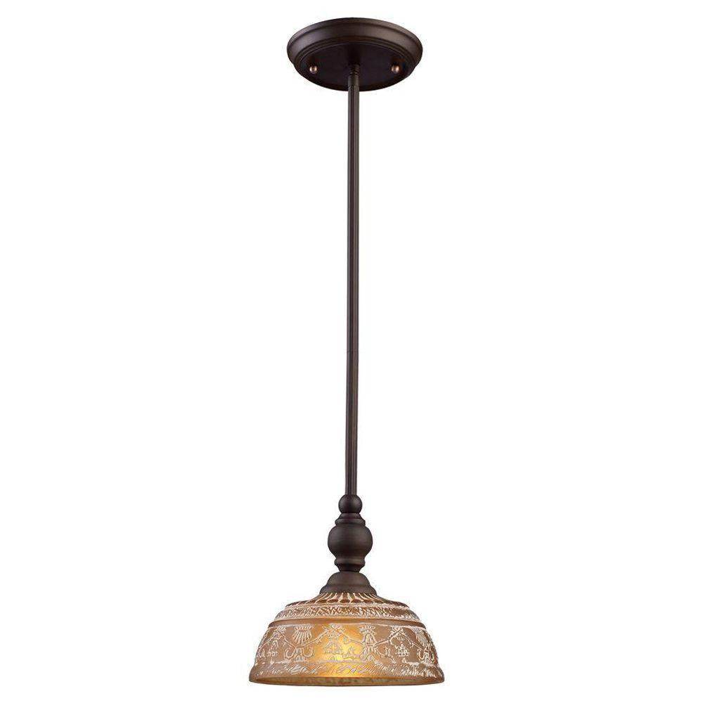 Titan Lighting Norwich 1-Light Oiled Bronze Ceiling Mount
