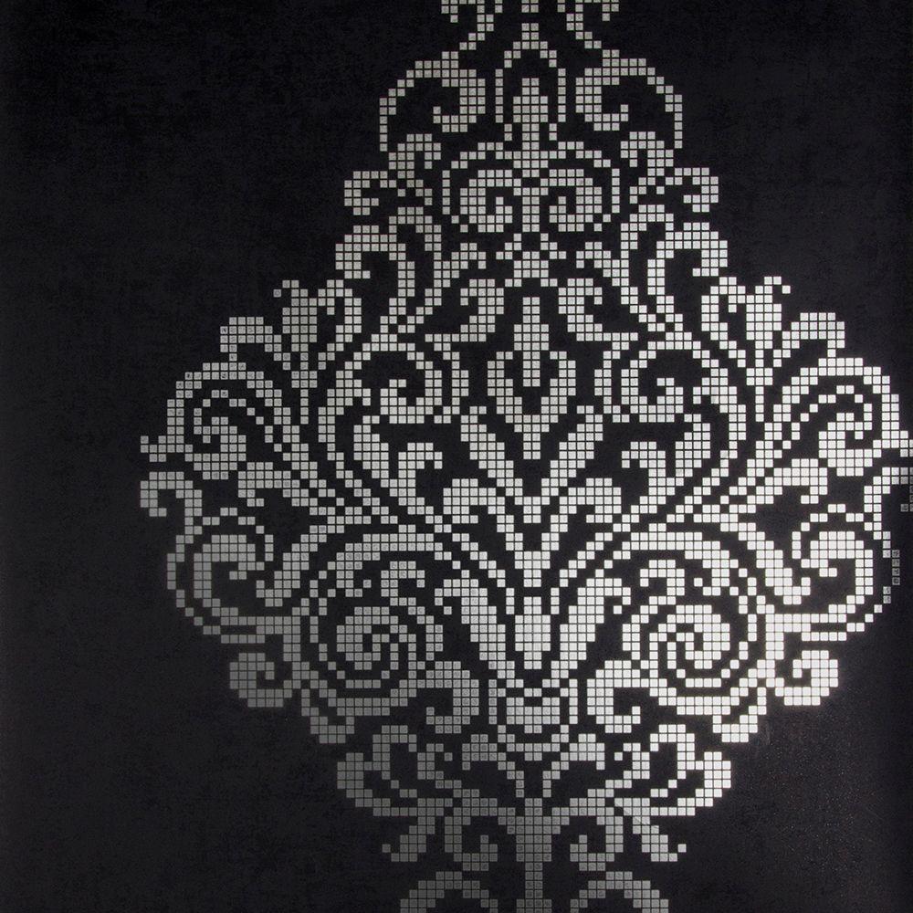 Kenneth James Lux Charcoal Foil Damask Wallpaper 2542-20747