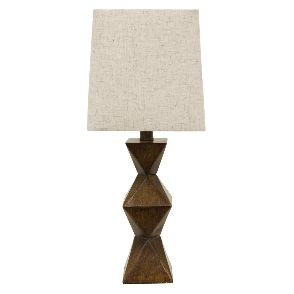 Knox Stacked 20.5 in. Brown Table Lamp with Linen Shade
