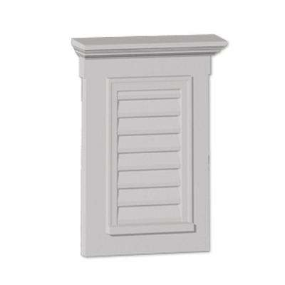 31 in. x 33-1/2 in. x 3 in. Polyurethane Functional Vertical Louver Gable Vent with Flat Trim and Crosshead