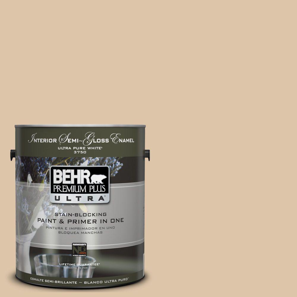 BEHR Premium Plus Ultra 1-gal. #UL160-8 Sand Motif Interior Semi-Gloss Enamel Paint