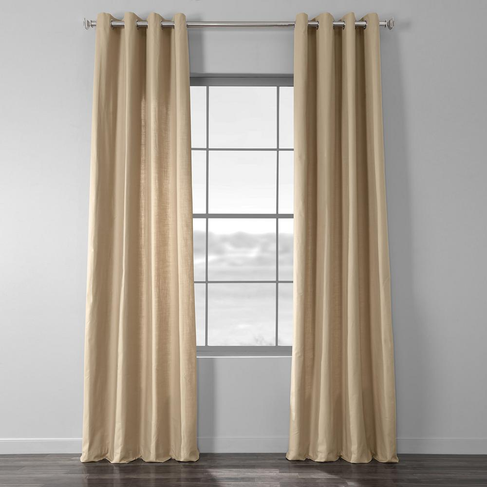Exclusive Fabrics & Furnishings Camel Beige Solid Country Cotton Linen Weave Grommet Curtain - 50 in. W x 84 in. L