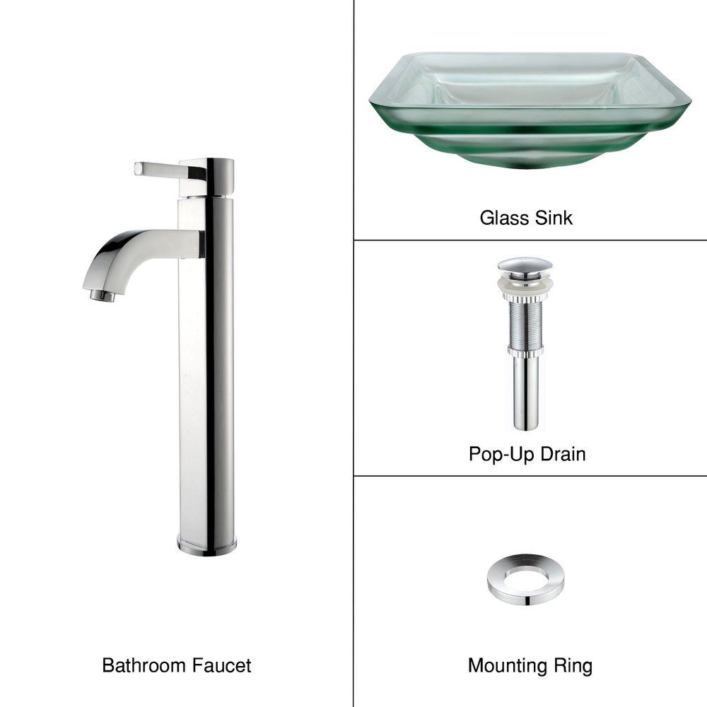 KRAUS Oceania Glass Bathroom Sink in Frosted with Single Hole Single-Handle Low-Arc Ramus Faucet in Chrome-DISCONTINUED