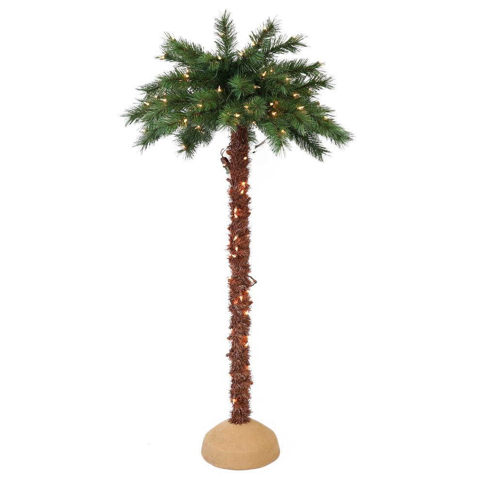 Puleo International 6 ft. Pre-Lit Artificial Palm Tree with 150 UL-Listed Lights
