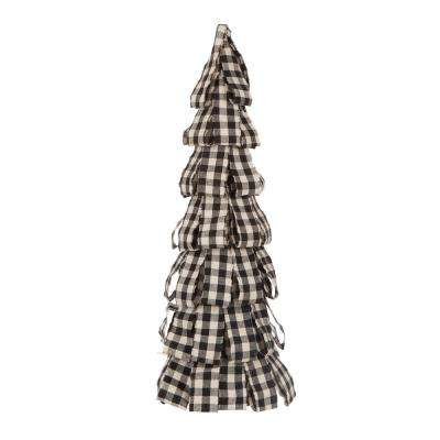 16.93 in. H Black and White Plaid Fabric Table Tree