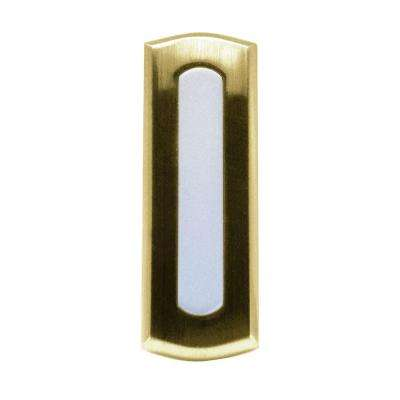 Wireless Battery Operated Doorbell Push Button, Colonial Style Polished Brass