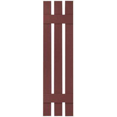 12 in. x 43 in. Lifetime Vinyl Standard Three Board Spaced Board and Batten Shutters Pair Wineberry