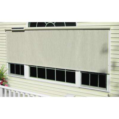 Coral White Vinyl Exterior Solar Shade Solar-Powered with Full Cream Cassette - 108 in. W x 84 in. L