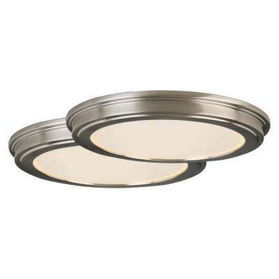 13 in. 180-Watt Equivalent Brushed Nickel Integrated LED Ceiling Flush Mount with White Acrylic Shade (2-Pack)
