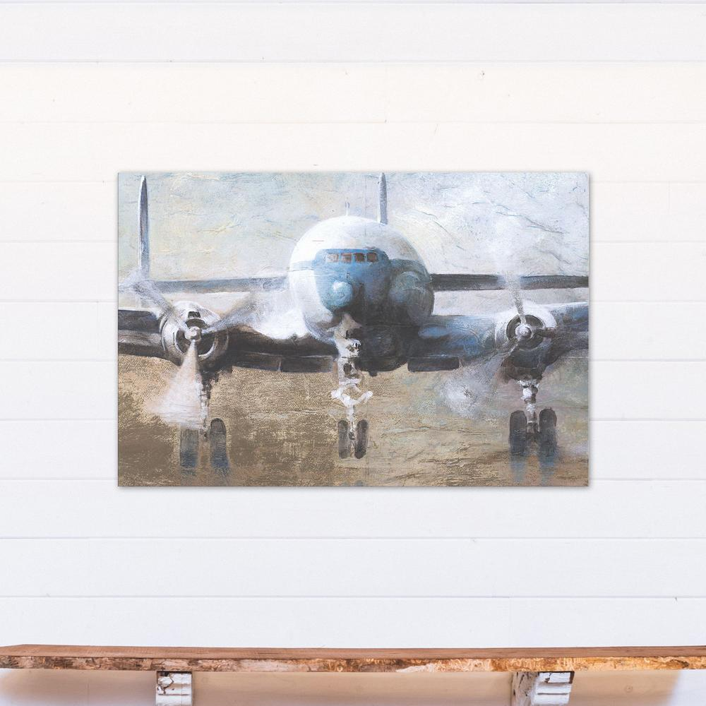 32 in. x 48 in. Airplane Take Off Printed Canvas Wall