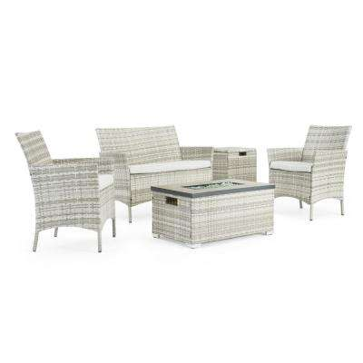 Kanab Grey 4-Piece Wicker Patio Fire Pit Conversation Set with Grey Cushions