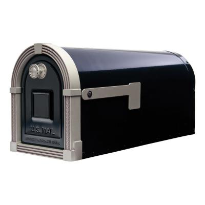 Brunswick Large, Steel, Post-Mount Mailbox, Black w/Brushed Nickel