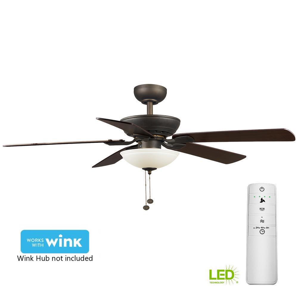 hampton bay connor 52 in led oil rubbed bronze smart ceiling fan with light kit and wink remote. Black Bedroom Furniture Sets. Home Design Ideas