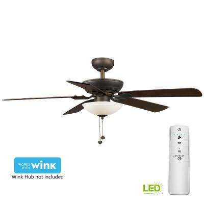 Connor 52 in. LED Oil-Rubbed Bronze Smart Ceiling Fan with Light Kit and WINK Remote Control