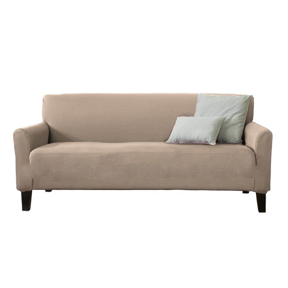 Great Bay Home Dawson Collection Tan Twill Form Fit Sofa Slipcover