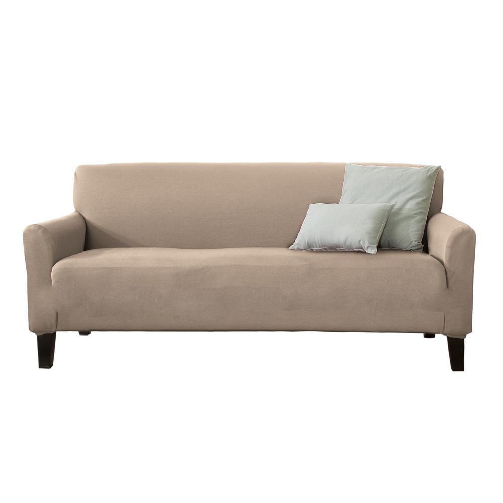 Dawson Collection Tan Twill Form Fit Sofa Slipcover