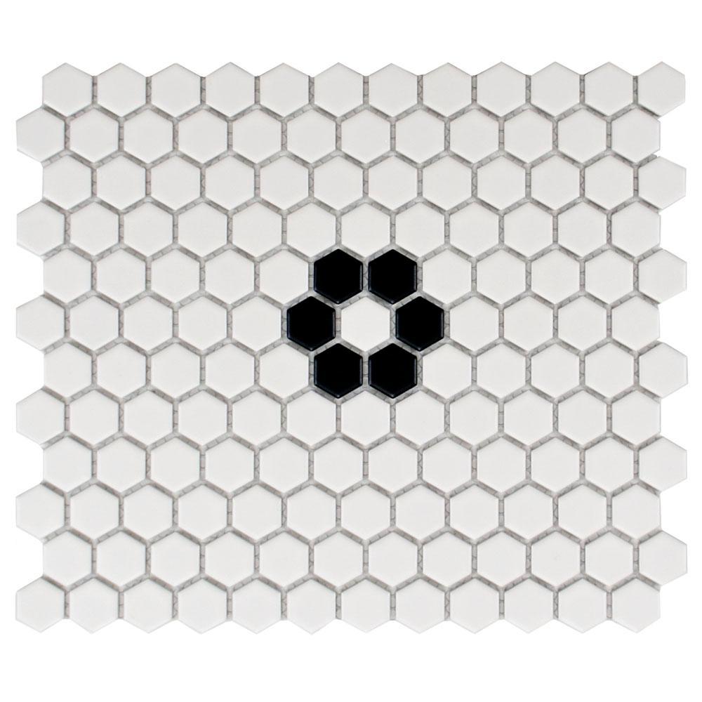 Merola Tile Metro Hex Matte White with Single Flower 10-1/4 in. x 11 ...
