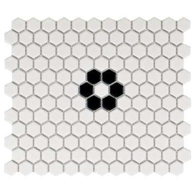 Metro Hex Matte White with Single Flower 10-1/4 in. x 11-3/4 in. x 5 mm Porcelain Mosaic Tile (8.54 sq. ft. / case)