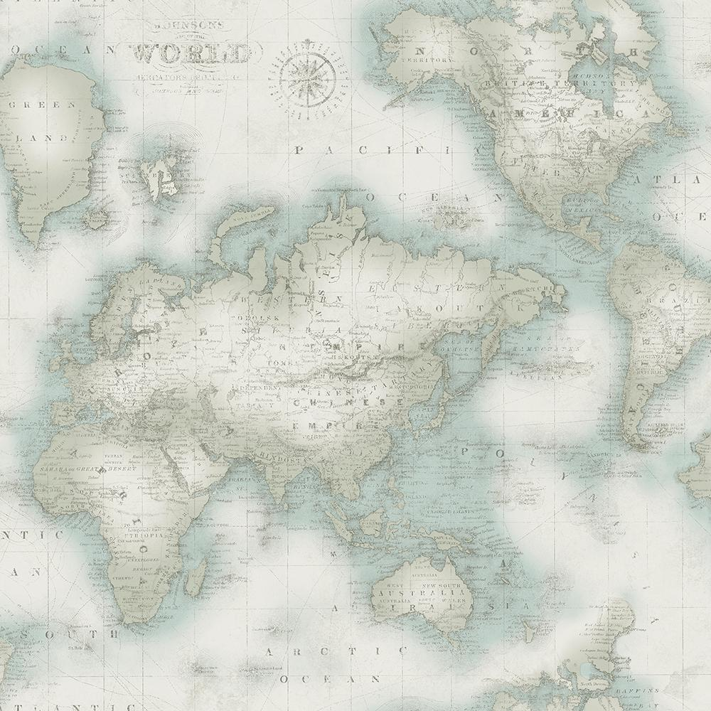 Chesapeake Mercator Aqua World Map Wallpaper-3113-47546 - The Home Depot