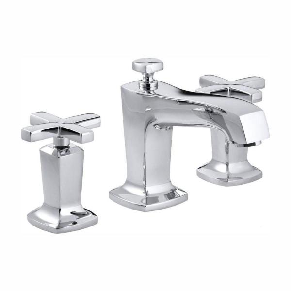 Margaux 8 in. Widespread 2-Handle Low-Arc Water-Saving Bathroom Faucet in Polished Chrome with Cross Handles