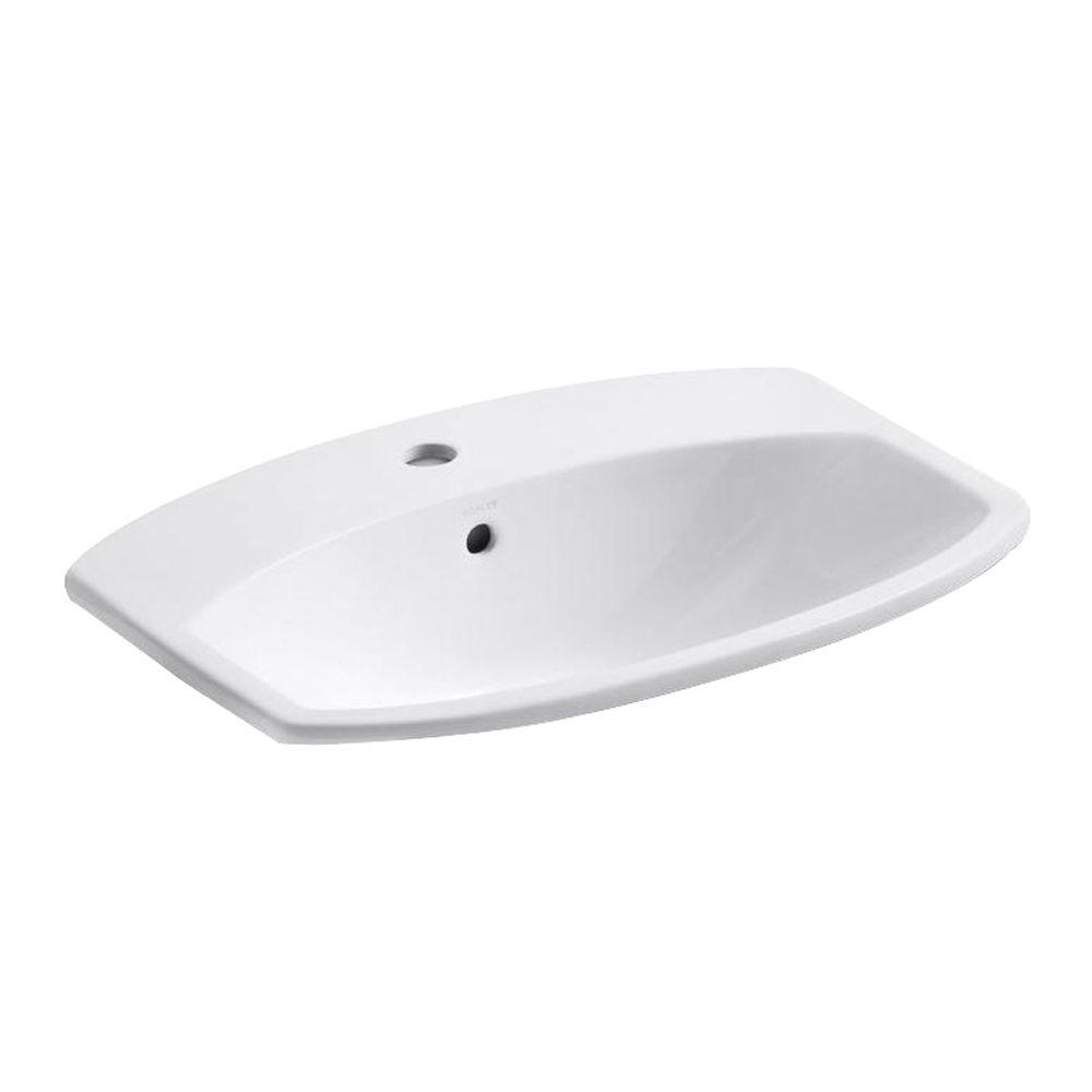 Glacier Bay Aragon SelfRimming DropIn Bathroom Sink In White - Oval bathroom sinks drop in for bathroom decor ideas