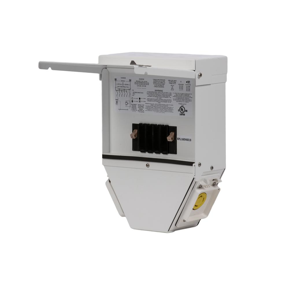 Type CH 30 Amp GFCI 4-Circuit Outdoor Stainless Steel Housing Deckhand