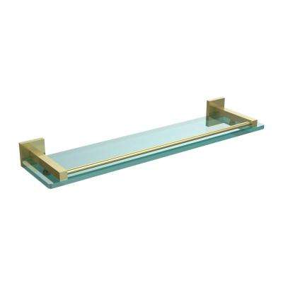 Montero 22 in. L  x 2 in. H  x 5-3/4 in. W Clear Glass Vanity Bathroom Shelf with Gallery Rail in Satin Brass