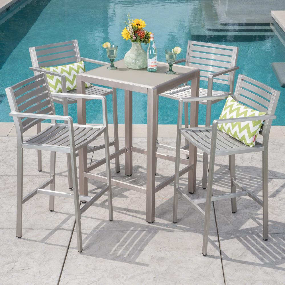 Noble House Cape Coral Silver 5 Piece Metal Outdoor Bar