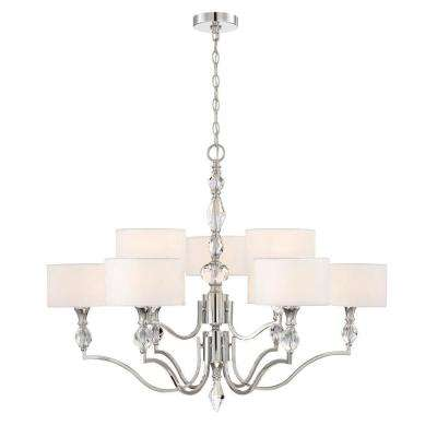 Evi 9-Light Chrome Chandelier with White Linen Clear Faceted Crystal Shade