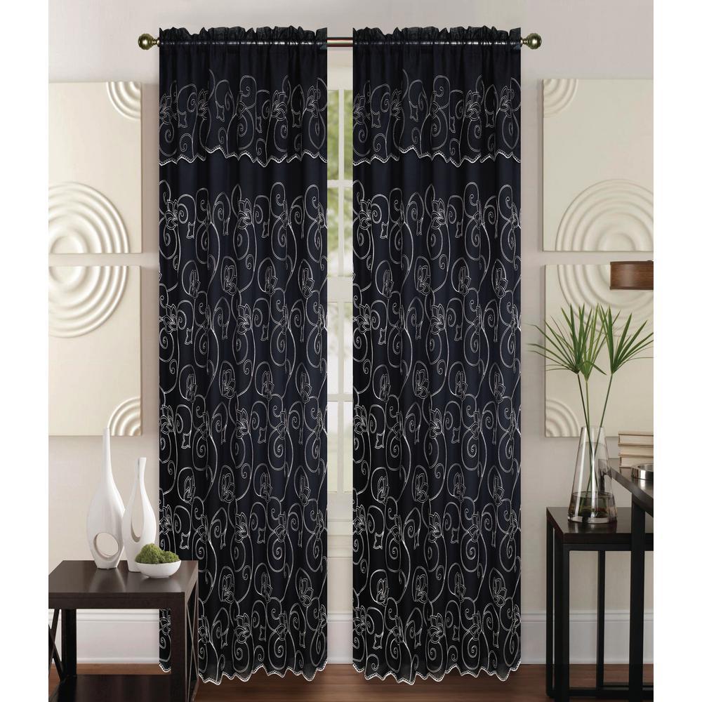 Kashi Home Selma 55 In X 84 Curtain Panel Black Cream