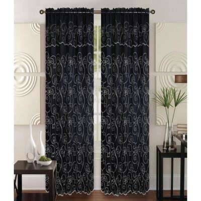 Selma 55 in x 84 in Curtain Panel in Black/Cream