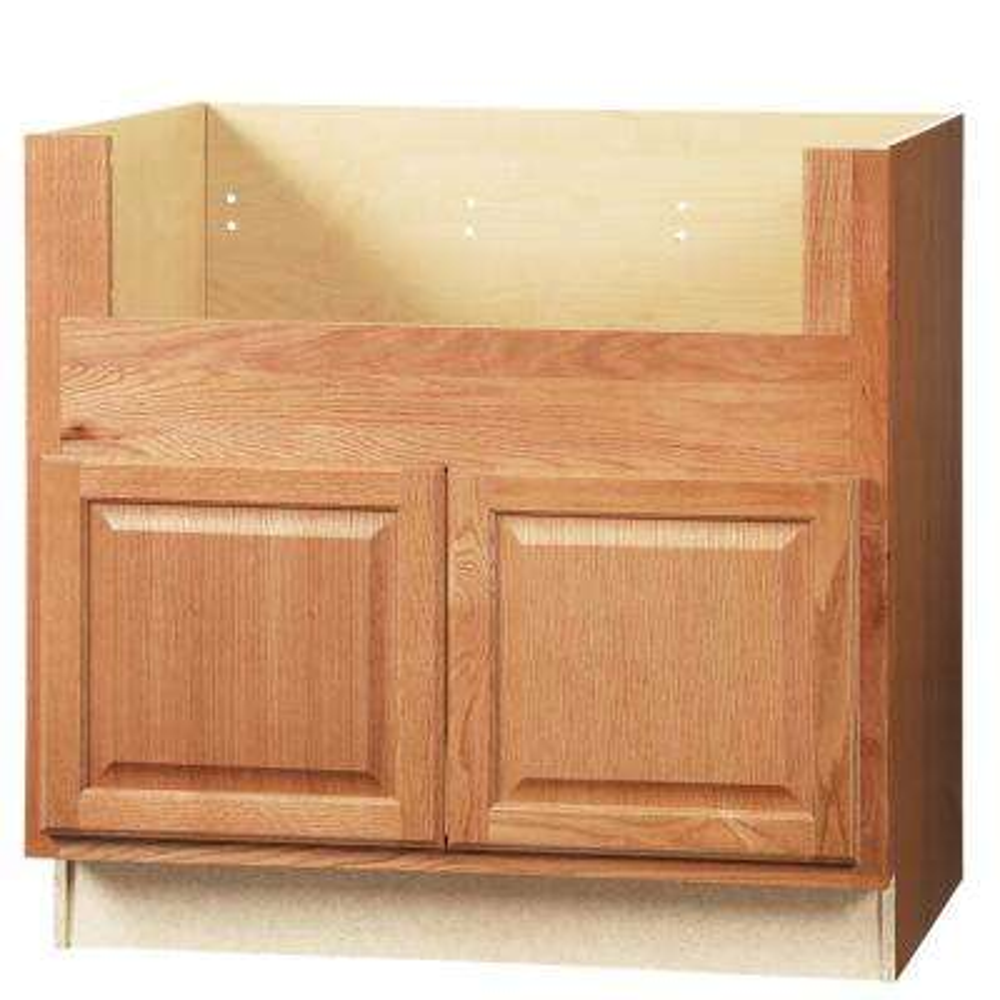 Hampton Assembled 36x34.5x24 in. Farmhouse Apron-Front Sink Base Kitchen Cabinet in Medium Oak
