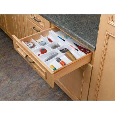 2.38 in. H x 11.5 in. W x 21.25 in. D Small Glossy White Cutlery Tray Drawer Insert
