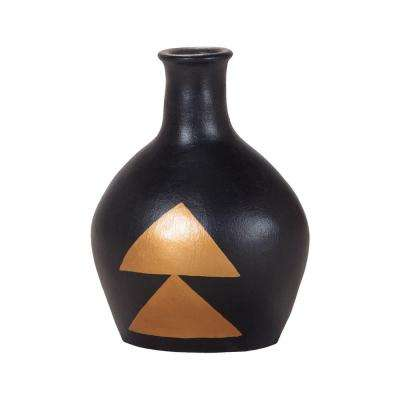 Golden Direction 13 in. Terracotta Decorative Vase in Black And Gold