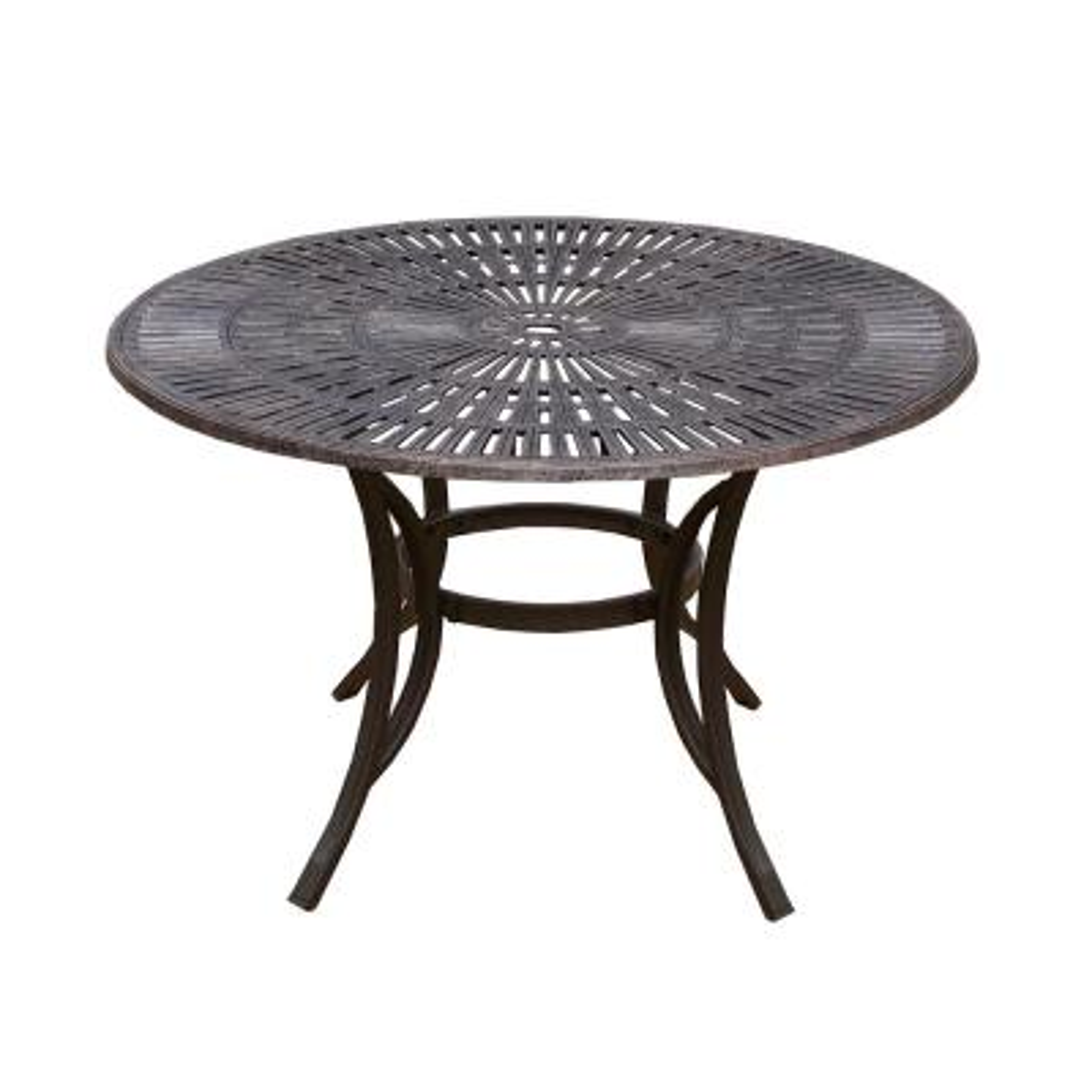 48 in. Antique Bronze Round Cast Aluminum Outdoor Dining Table with Umbrella Hole