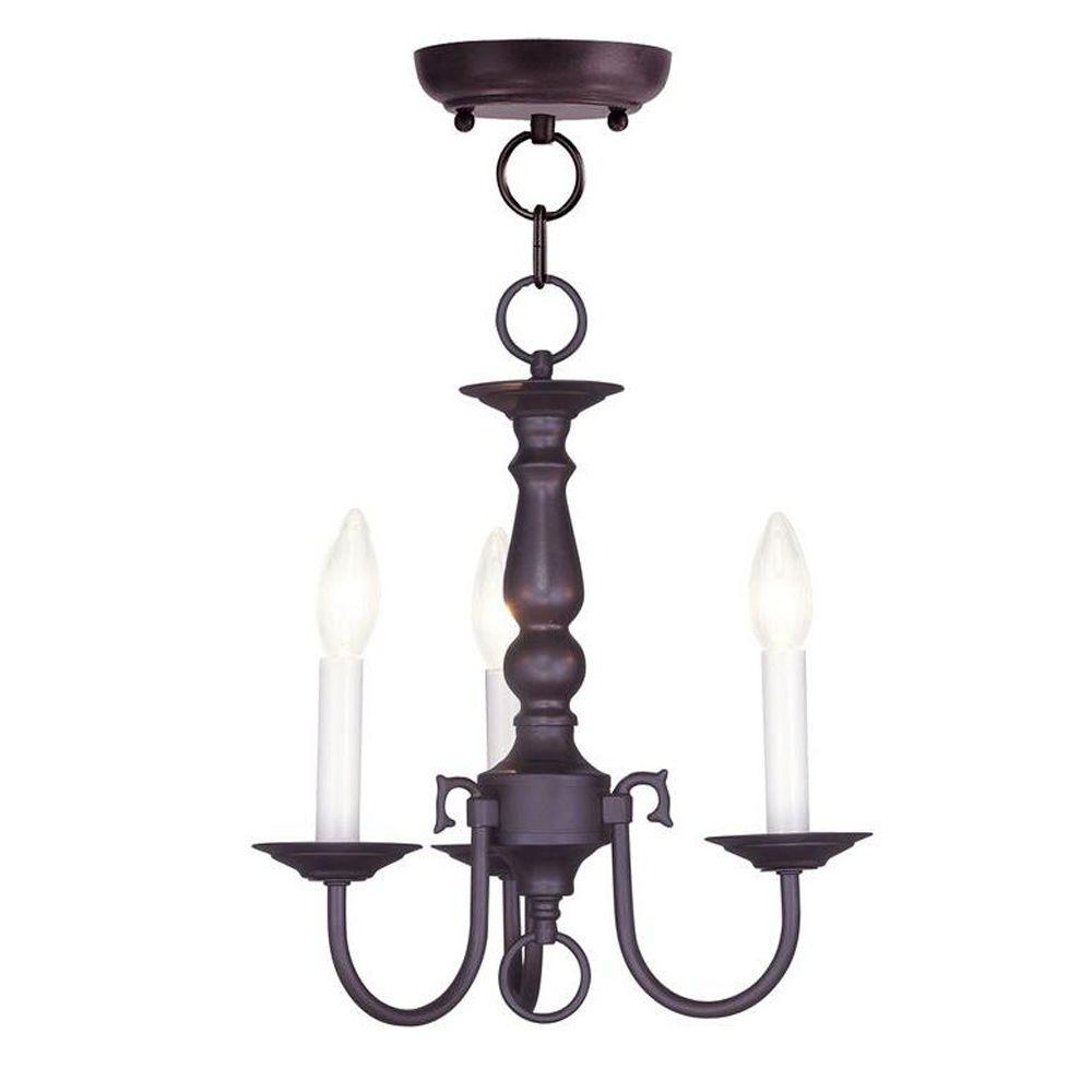 Livex Lighting 3-Light Bronze Chandelier