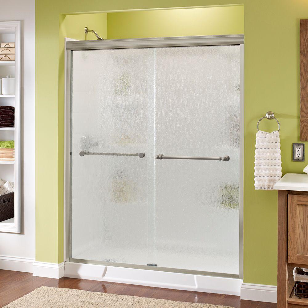 delta silverton 60 in x 70 in semi frameless sliding shower door in nickel with rain glass. Black Bedroom Furniture Sets. Home Design Ideas