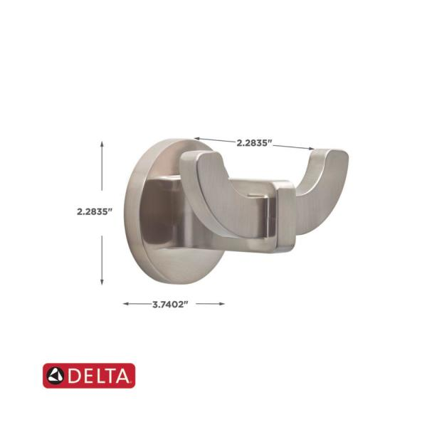 Delta Mandolin Double Towel Hook in SpotShield Brushed Nickel  MLN35-DN