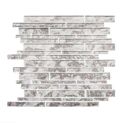 Wilshire Grey 11.875 in. x 12.375 in. x 5 mm Interlocking Glossy Glass Mosaic Tile