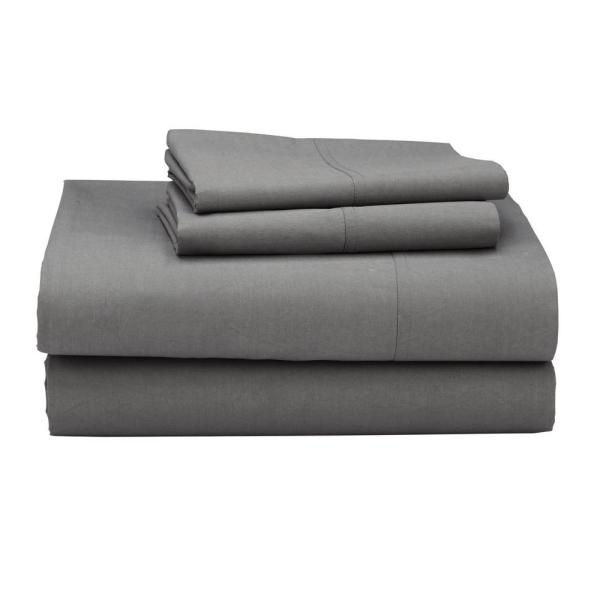 The Company Clic 3 Piece Storm Gray 210 Thread Count Percale Twin Xl Sheet
