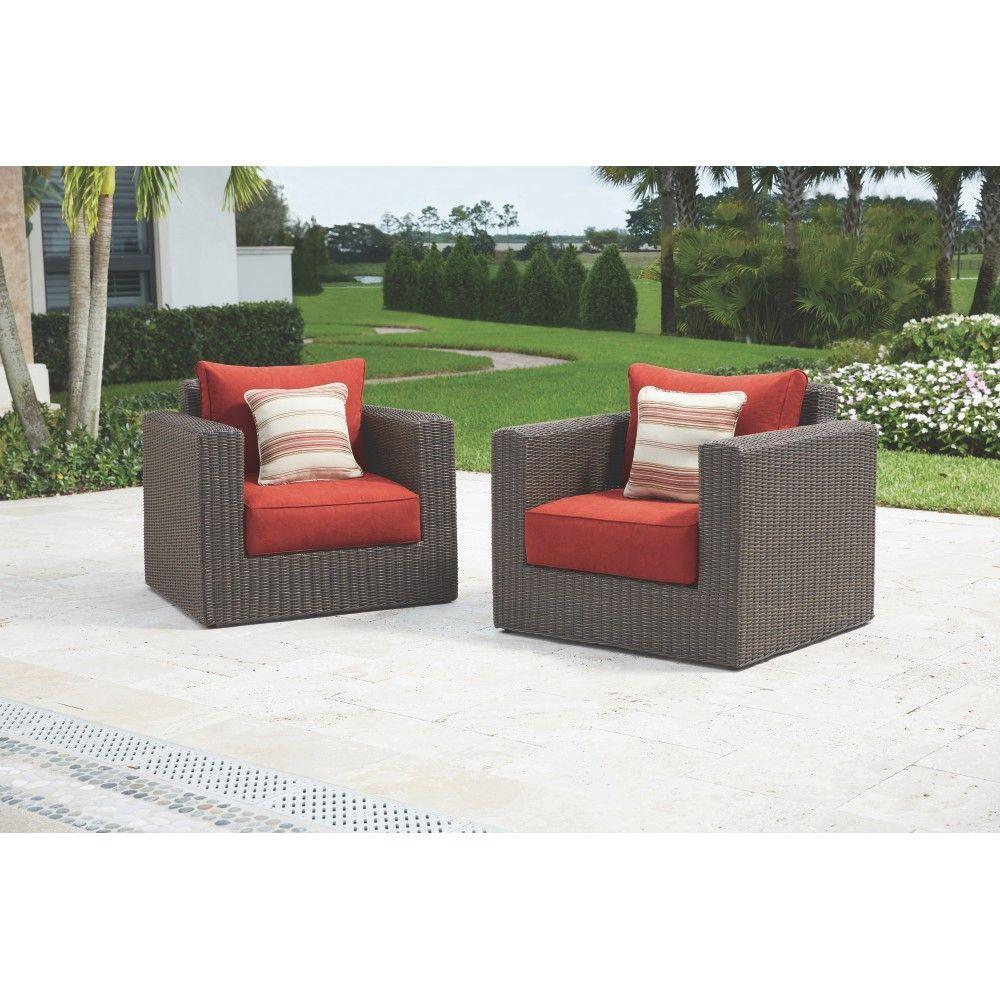 Home Decorators Collection Naples Brown Patio Lounge Chair With Spice Cushions 2 Pack