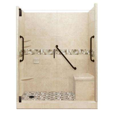 Tuscany Freedom Grand Hinged 34 in. x 60 in. x 80 in. Left Drain Alcove Shower Kit in Brown Sugar and Old Bronze