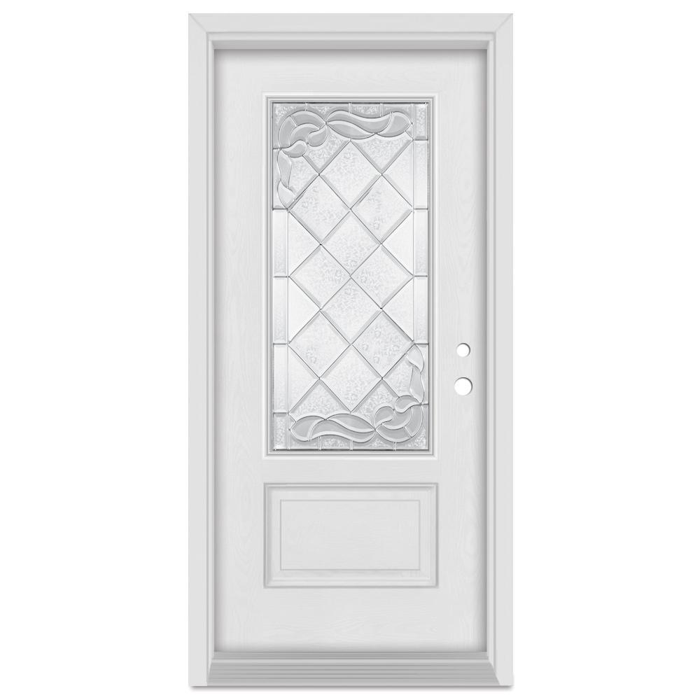 Stanley Doors 37.375 in. x 83 in. Art Deco Left-Hand Inswing 3/4 Lite Zinc Finished Fiberglass Mahogany Woodgrain Prehung Front Door