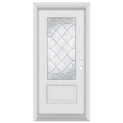 36 in. x 80 in. Art Deco Left-Hand Inswing 3/4 Lite Zinc Finished Fiberglass Mahogany Woodgrain Prehung Front Door