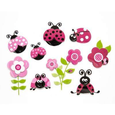 11.8 in. x 11.8 in. Pink Ladybugs 3D Wall Decal