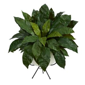 34in. Bird's Nest Fern Artificial Plant in White Planter with Metal Stand