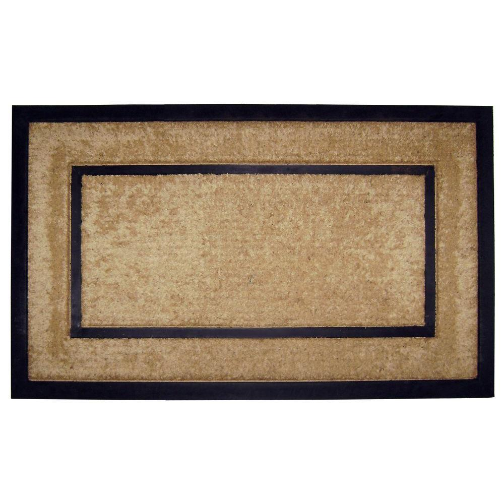 Nedia Home DirtBuster Single Picture Frame Black 22 in. x 36 in. Coir with Rubber Border Door Mat
